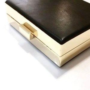 ALDO Forero Box Clutch Black Gold Hardware